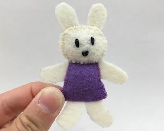 Little Miss Bunny--ivory rabbit pocket felt doll, purple dress