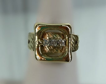 14K Yellow Gold 3-Diamonds Accented Belt Buckle Ring, Size 6.5, Vintage 1970's, 5.9-Grams