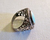 Sterling and Turquoise Openwork Statement Ring VintageThailand Size 7.5