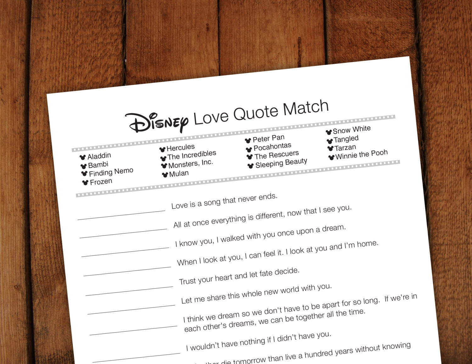 disney love quote matchup printable bridal by laurevansdesign