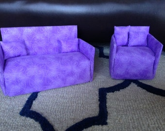 Couch & Chair Set for Barbie - Purple and White