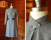 vintage grey wool dress / size medium