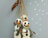 Snowman ornament, needle felted, christmas ornament, felt snowman, holiday decor, artisan made gift, sold individually