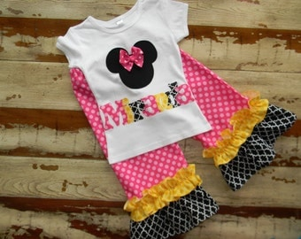 Pink & Yellow...Disney Outfit...Minnie Top with Double Ruffle Shorts or Pants - 0-3m to 8 years... Long or Short Sleeved