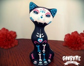 Mexican Cat Figurine Skull Cat Sculpture handmade Unique - Kitty Sugar Skull Day of the Dead - Ganbatte Black Cats