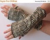 Fingerless Gloves Brown Beige Gray White wrist warmers