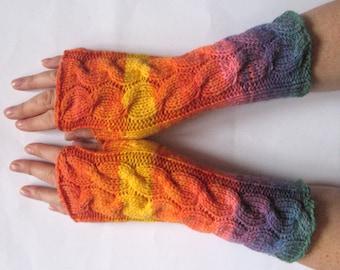 Orange Fingerless Gloves Knit Gloves Winter Gloves Yellow Purple Blue Green Long Fingerless Gloves Acrylic