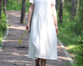 Loose Fitting Long Maxi Dress/ Double Long dress/ Women Dress short sleeve dress/ loose fitting summer clothes