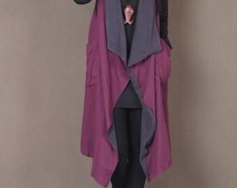 Loose fitting large size Sleeveless coat women Asymmetric Blue + Fuchsia vest