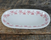 Vintage Buffalo China Oval Celery Dish Red Windsor or Red Leaf Pattern Kitchen or Trinket Dish