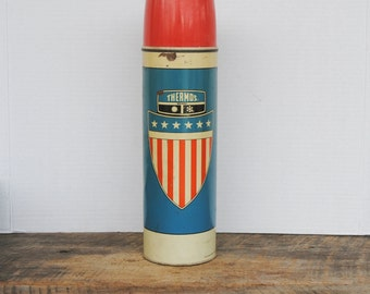 Vintage King Seeley Thermos Bottle 1975 Red White and Blue