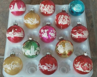 Vintage Shiny Brite Stenciled Ornament Collection Variety Set of 13 Mid Century Retro Christmas