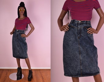 80s Acid Wash Denim Skirt/ 29 Waist/ 1980s/ Stone Wash