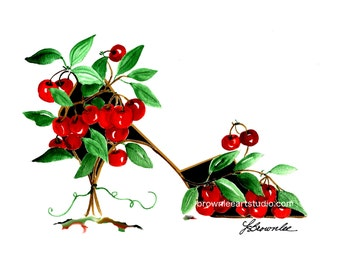 Shoe Print SHIPS FREE - Cherry Tree Shoe - Signed & Enhanced with Watercolor