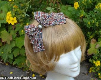 Brown Brick Hair Bow with Pearl Cabochon - Headband OR Alligator Clip - Handmade