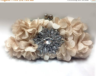 Wedding clutch, formal evening bag,  bridesmaid clutch, vintage inspired clutch, bridesmaid bag, champagne ruffle clutch