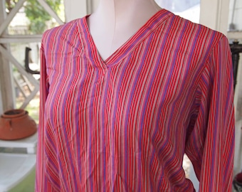 Liz Claiborne, Shirt, Silk Blouse, Striped Silk Shirt, Red Blouse, Striped Shirt, V Neck, Blouse, Women's Shirt, Lizwear, Ladies Clothing