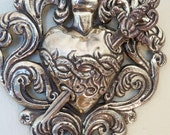 """Stunning 12 6/8""""  1800's SACRED HEART  Dagger Silver Toned Milagro- one of a kind handmade treasure- 186 g"""
