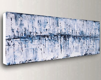art, wall art, blue white Acrylic painting abstract painting large canvas home office interior bedroom decor modern Oil texture impasto Visi