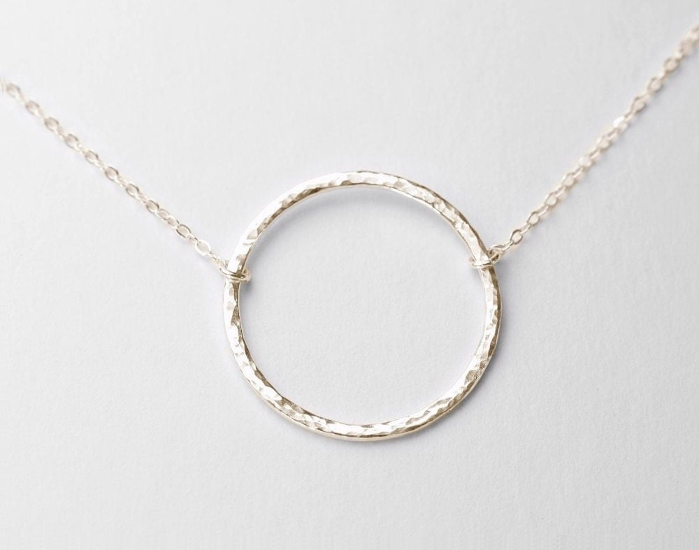 hammered circle necklace sterling silver circle necklace