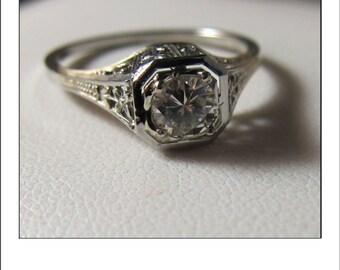 Antique Art Deco 18k  .35 ct.  Diamond Filigree Engagement Ring