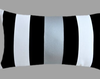 """Decorative Pillow Case, Striped Black-White Cotton fabric Lumbar pillow case with a Silver Faux Leather accent, fits 12"""" x 20"""" insert"""