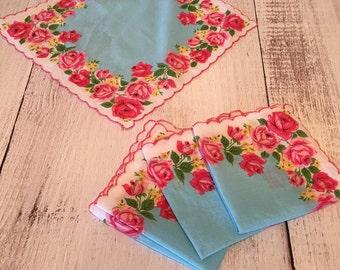 Vintage rose light blue tea napkins