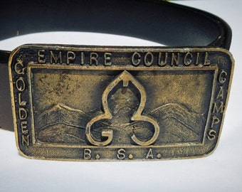 Empire Council Golden Camps B.S.A. Vintage Leather Belt and Buckle