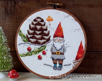 Gnome Avenue Winter Gnomes and Toadstools Hand Embroidery Hoop Art - Wall Hanging  Ready To Ship