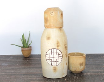 Handmade Sake Bottle set, Ceramic Wine Bottle set, Sake Bottle Set with Two cups, Ceramic Vase