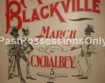 Rare SHEET MUSIC Freaks of Blackville March By C.W. Dalbey Instant Digital Download 1899 Black Americana Wall Art Antique Art