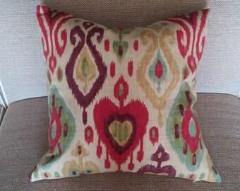 Two  20 x 20  Custom Designer Decorative Pillow Covers -  Ikat   Red/Green/Plum/Citrine/Blue