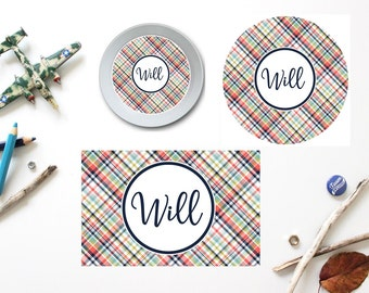 Plaid Plate/Bowl/Placemat . Personalized Plate/Bowl/Placemat . Boys Plate/Bowl/Placemat . Madras Plate/Bowl/Placemat