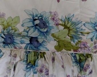 Vintage SANDERSON Cotton Fabric Nemone SINGLE Bedspread Floral Blue Green