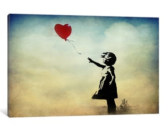 iCanvas Girl with a Balloon Watercolor Gallery Wrapped Canvas by Banksy