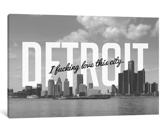 iCanvas B/W Detroit Love Gallery Wrapped Canvas Art Print by 5by5collective