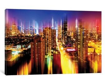 iCanvas Urban Stretch Series - Manhattan Night Gallery Wrapped Canvas Art Print by Philippe Hugonnar