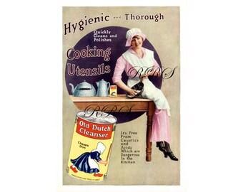 Instant Download Printable Art, Old Dutch Cleanser, Kitchen Decor Art, Soap Ads, Color Vintage Ad, Wall Art Decor, Digital Download