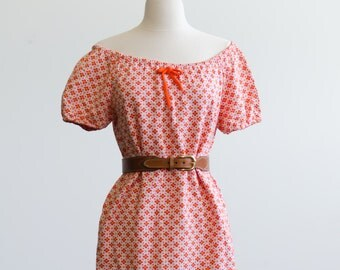 Little Orange Floral Mini Shift Dress Off Shoulder or Bateau Neck - Hippie / Prairie So Cute & Soft Size Small - Medium