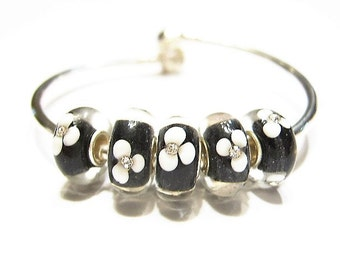 QTY. 5, Glass Euro Beads, Black & White, Clear Crystal Bloom,  Floral Pattern, Lamp-work Glass, Big Hole Beads