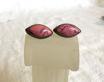 Rhodonite vintage earrings Mexico Mexican sterling silver Taxco ovals pink stone with black veins