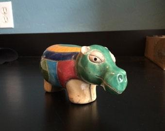Mid century hippo hippopotamus raku art pottery Africa folk art multicolor modernist glaze incised ADORABLE