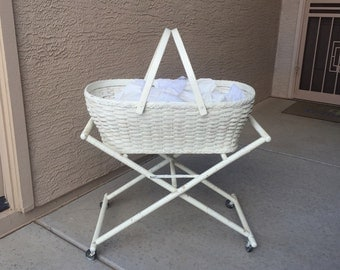 Antique baby bassinet basket and stand wicker woven reeds 2-pc shop prop plant stand decor item