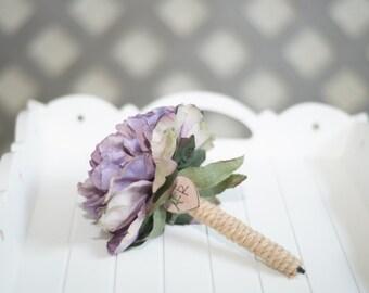 Burlap Guest book pen select flower showing lavender flower peony pen