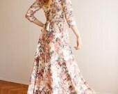Maxi circular skirt pink floral print dress