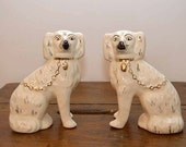 Antique Victorian Pair Staffordshire Dogs White Lustre Spaniels White 6.5""