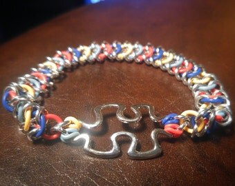 Autism Awareness ChainMaille Bracelet. 20% of Proceeds go to Charity