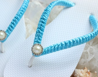 Malibu Wedding Flip Flops for brides and bridesmaids, Blue Bridal sandals