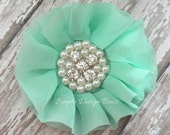 "Mint Hair Flower - Hair Clip or Brooch - 3"" PHEOBE FLOWER - Mint Flower Clip - Chiffon Flower - Limited Quantities"