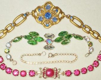 4 Vintage Rhinestone Bracelets